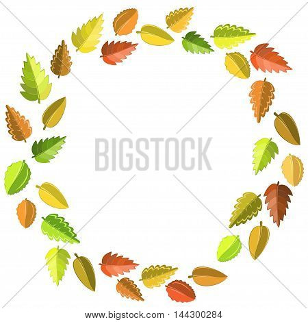 bright autumn pattern with green, yellow, brown and red leaves. Vector round frame