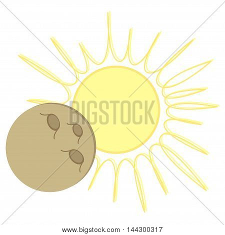 Solar Eclipse flat cartoon design. Vector illustration with sun and moon