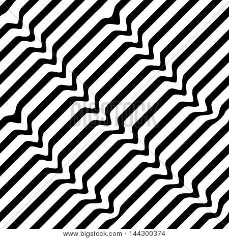 Wavy line seamless pattern. Fashion graphic background design. Modern stylish abstract texture. Monochrome template for prints textiles wrapping wallpaper website etc. VECTOR illustration
