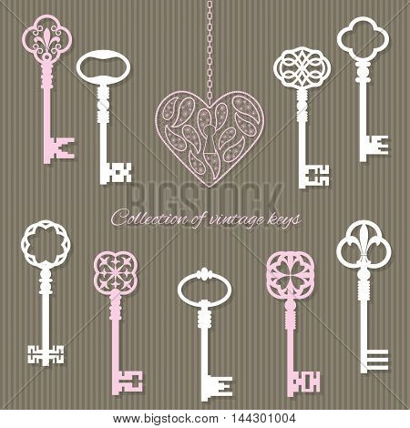 Scrapbook design elements - vintage keys and keyhole in the shape of lace heart.