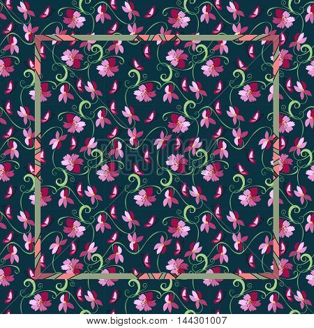 Vintage bandana print with pink flowers on a dark background. Vector illustration. Easy editable pattern.