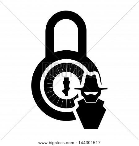 thief hacker padlock cyber security system protection silhouette icon. Flat and Isolated design. Vector illustration