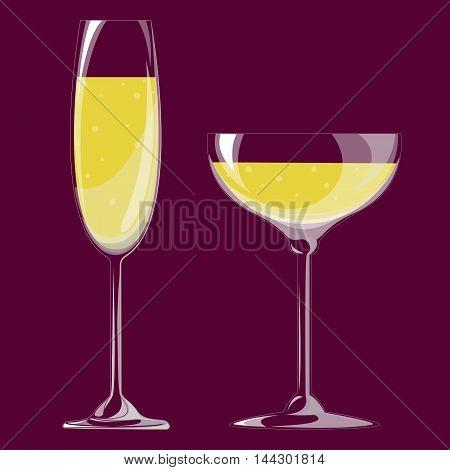 glasses of champagne. Vector illustration. EPS 10