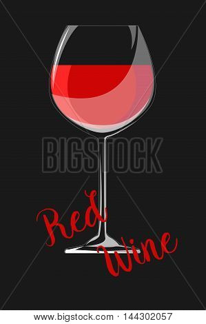 Glass of red wine. Vector illustration on black background. EPS 10