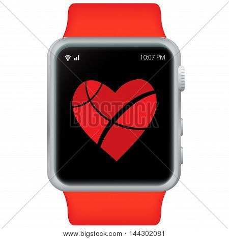 Red Smart Watch Vector Illustration with white background.