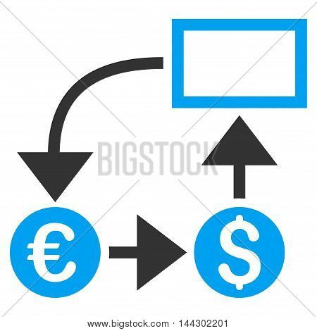 Cashflow icon. Vector style is bicolor flat iconic symbol, blue and gray colors, white background.