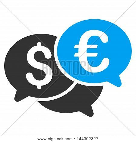Currency Bids icon. Vector style is bicolor flat iconic symbol, blue and gray colors, white background.