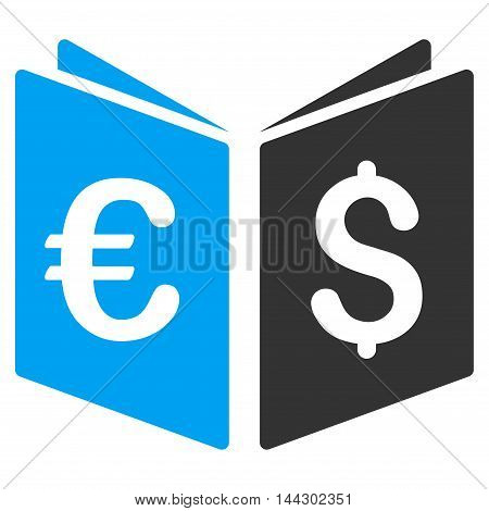 Currency Book icon. Vector style is bicolor flat iconic symbol, blue and gray colors, white background.