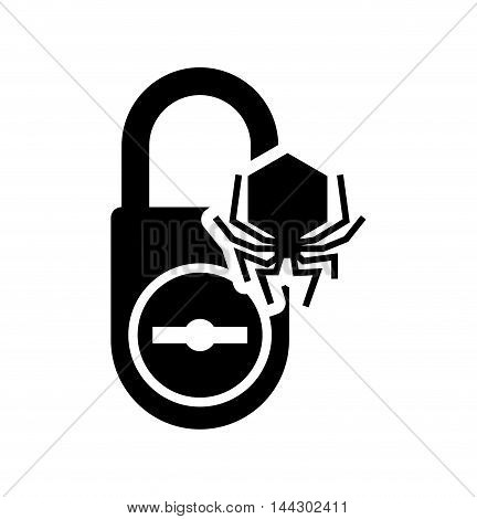 spider padlock cyber security system protection silhouette icon. Flat and Isolated design. Vector illustration
