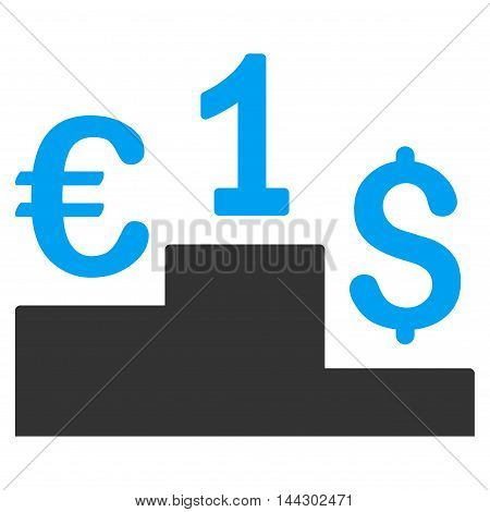 Currency Competition icon. Vector style is bicolor flat iconic symbol, blue and gray colors, white background.
