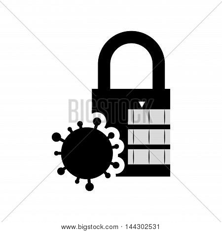 parasite padlock cyber security system protection silhouette icon. Flat and Isolated design. Vector illustration