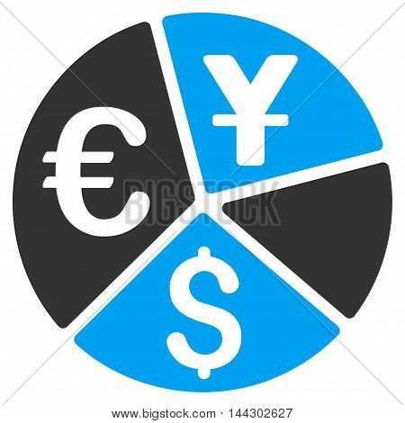 Currency Pie Chart icon. Vector style is bicolor flat iconic symbol, blue and gray colors, white background.