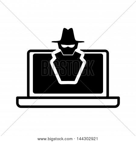 laptop thief hacker cyber security system protection silhouette icon. Flat and Isolated design. Vector illustration