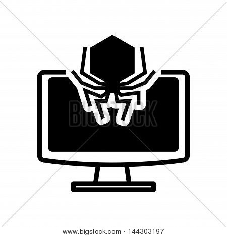 computer spider cyber security system protection silhouette icon. Flat and Isolated design. Vector illustration