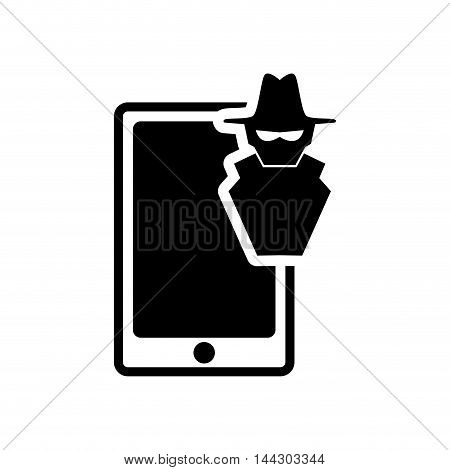smartphone thief hacker cyber security system protection silhouette icon. Flat and Isolated design. Vector illustration