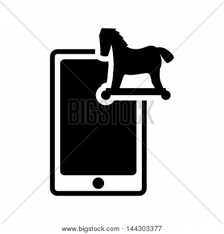 smartphone horse cyber security system protection silhouette icon. Flat and Isolated design. Vector illustration