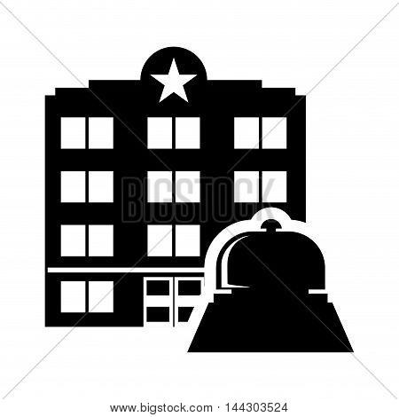 bell hotel building windows service silhouette icon. Flat and Isolated design. Vector illustration