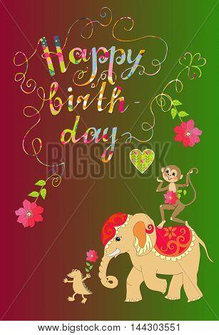 Colorful cute Happy birthday card with cheerful elephant crocodile and monkey.