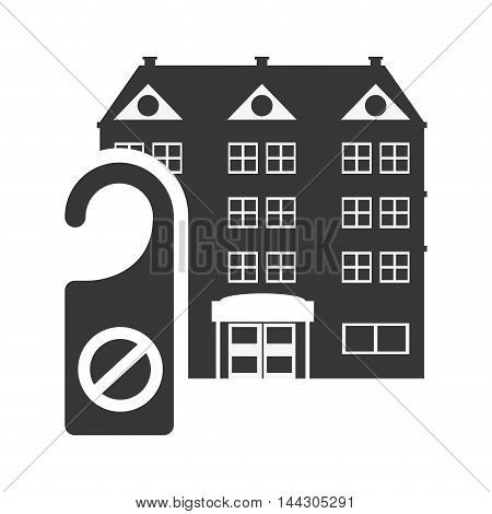 door label hotel building windows service silhouette icon. Flat and Isolated design. Vector illustration