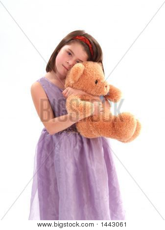 Adorable Girl With Bear