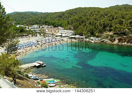 Beautiful view of Port of San Miguel, Ibiza. SPAIN.