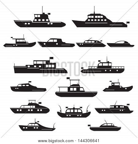 Set icons of motor yachts and small ships to explore the sea and fishing. Vector silhouette symbol motor yachts.