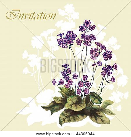 Elegance illustration with forget-me-not flowers bouquet Watercolor