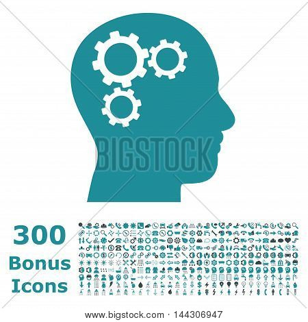 Brain Gears icon with 300 bonus icons. Vector illustration style is flat iconic bicolor symbols, soft blue colors, white background.