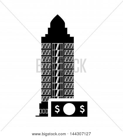 bill hotel building windows service silhouette icon. Flat and Isolated design. Vector illustration