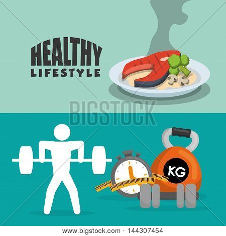 pictogram meat protein weight lifting healthy lifestyle fitness gym bodybuilding icon set. Colorful and flat design. Vector illustration