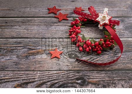 Closeup of christmas decorations on wooden table