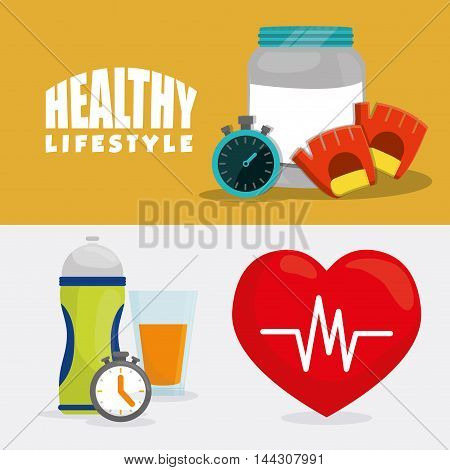 protein chronometer gloves bottle heart healthy lifestyle fitness gym bodybuilding icon set. Colorful and flat design. Vector illustration