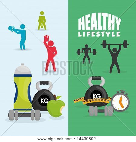 pictogram bottle apple chronometer weight lifting healthy lifestyle fitness gym bodybuilding icon set. Colorful and flat design. Vector illustration