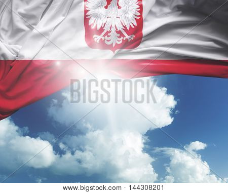Poland flag on a beautiful day