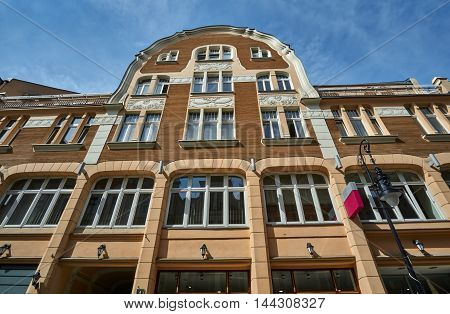 Art Nouveau facade of the building with balconies in Poznan