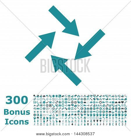 Centripetal Arrows icon with 300 bonus icons. Vector illustration style is flat iconic bicolor symbols, soft blue colors, white background.