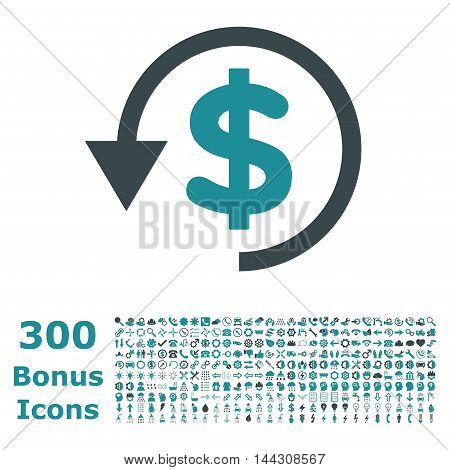 Chargeback icon with 300 bonus icons. Vector illustration style is flat iconic bicolor symbols, soft blue colors, white background.