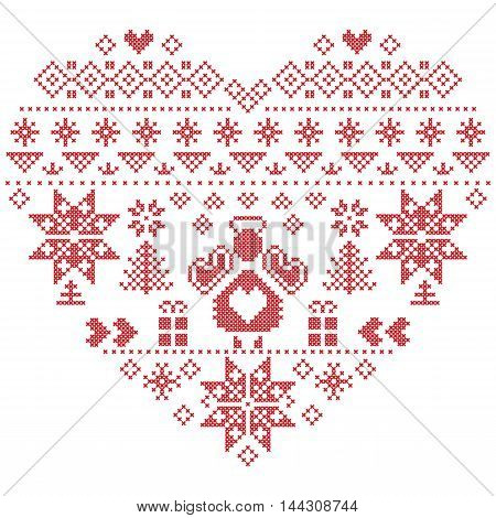 Heart Shape Scandinavian Printed Textile  style and inspired by  Norwegian Christmas and festive winter seamless pattern in cross stitch with Christmas tree, snowflakes, Angel, hearts on white background