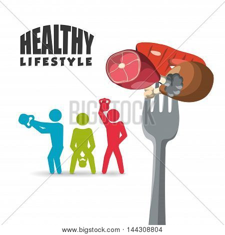 pictogram meat protein fork weight lifting healthy lifestyle fitness gym bodybuilding icon set. Colorful and flat design. Vector illustration