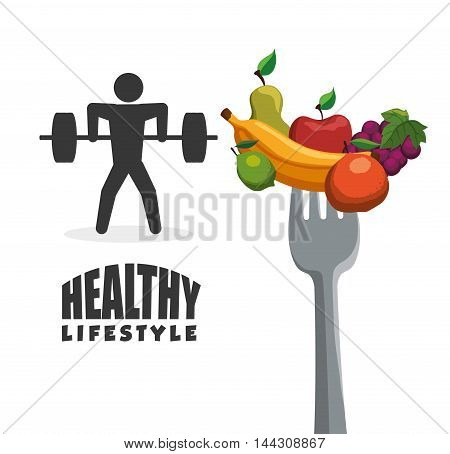 pictogram fruits fork weight lifting healthy lifestyle fitness gym bodybuilding icon set. Colorful and flat design. Vector illustration