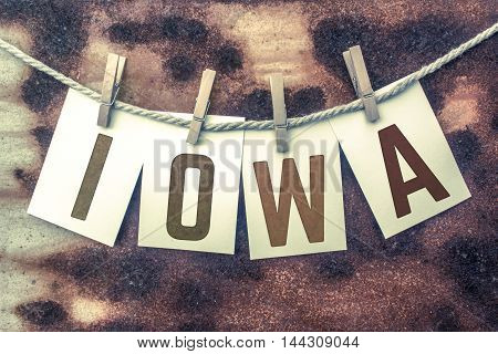 Iowa Concept Pinned Stamped Cards On Twine Theme