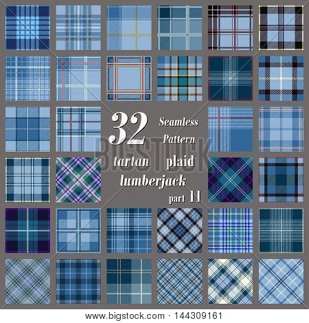 Set tartan seamless pattern in blue and dark blue colors. Lumberjack flannel shirt inspired. Seamless tartan tiles. Trendy hipster style backgrounds. Suitable for decorative paper fashion design home and handmade crafts.