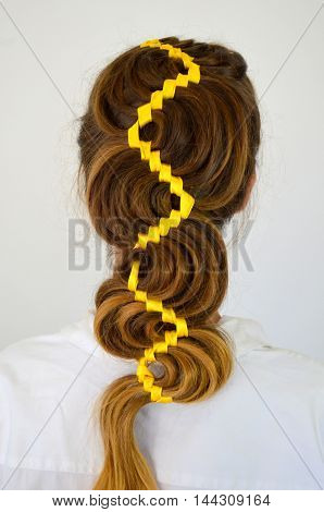 Hollywood wave, hair weave with yellow ribbon