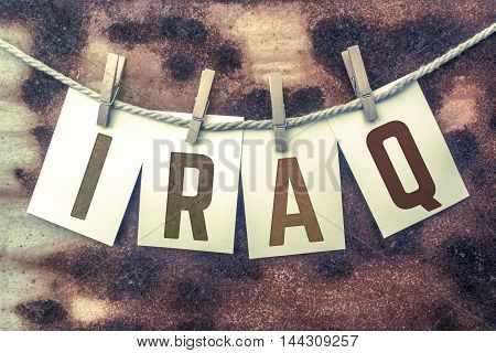 Iraq Concept Pinned Stamped Cards On Twine Theme