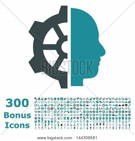 Cyborg Gear icon with 300 bonus icons. Vector illustration style is flat iconic bicolor symbols, soft blue colors, white background.