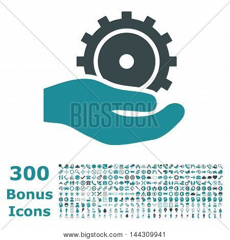 Development Service icon with 300 bonus icons. Vector illustration style is flat iconic bicolor symbols, soft blue colors, white background.
