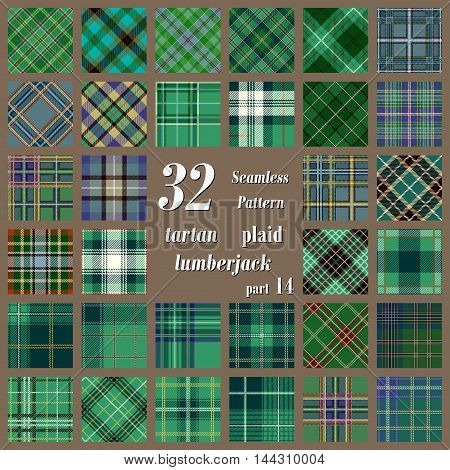 Set tartan seamless pattern in green and dark green colors. Lumberjack flannel shirt inspired. Seamless tartan tiles. Trendy hipster style backgrounds. Suitable for decorative paper fashion design home and handmade crafts.