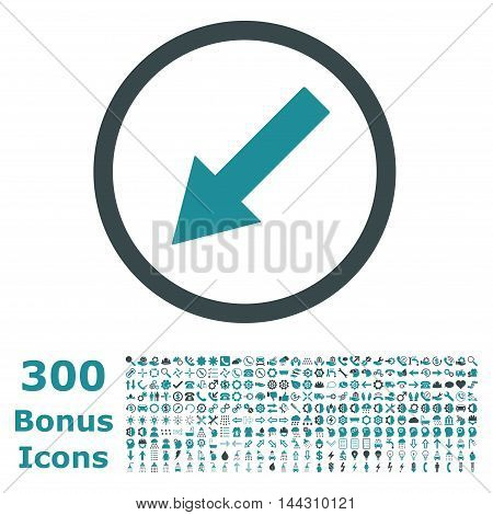 Down-Left Rounded Arrow icon with 300 bonus icons. Vector illustration style is flat iconic bicolor symbols, soft blue colors, white background.