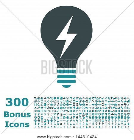 Electric Bulb icon with 300 bonus icons. Vector illustration style is flat iconic bicolor symbols, soft blue colors, white background.