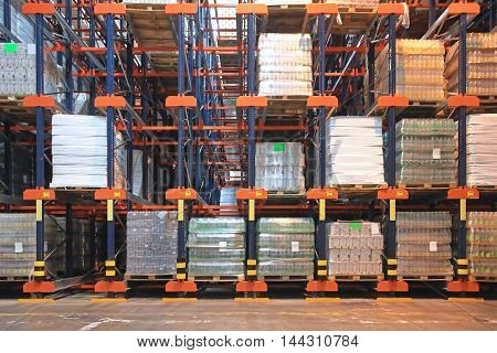 Automated Warehouse Storage With High Shelving System